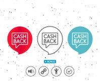 Cashback service line icon. Money transfer. Stock Image