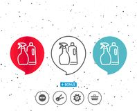 Cleaning spray and Shampoo line icon. Cleanser. Stock Photography