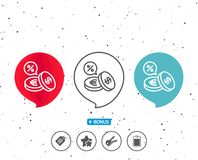 Coins money line icon. Cashback service. Speech bubbles with symbol. Coins money line icon. Banking currency sign. Euro and Dollar Cash symbols. Cashback Royalty Free Stock Image