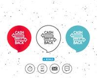 Credit card line icon. Cashback service. Stock Image