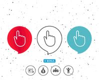 Hand Click line icon. Finger touch sign. Speech bubbles with symbol. Hand Click line icon. Finger touch sign. Cursor pointer symbol. Bonus with different Royalty Free Stock Images
