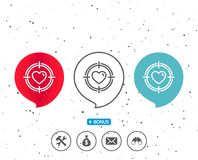 Heart in Target aim icon. Love symbol. Speech bubbles with symbol. Heart in Target aim line icon. Love dating symbol. Valentines day sign. Bonus with different Stock Photos