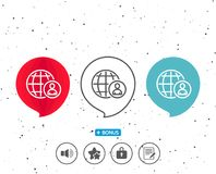 International business recruitment line icon. Speech bubbles with symbol. International business recruitment line icon. Global human resources sign. Bonus with Royalty Free Stock Images