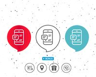 Phone Message line icon. Mobile chat sign. Stock Photography