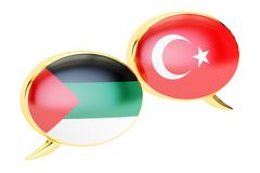 Speech bubbles, Turkish-Arab conversation concept. 3D rendering. Speech bubbles, Turkish-Arab conversation concept. 3D Royalty Free Stock Images