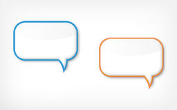 Speech bubbles. Two speech bubbles with blue and orange frames Royalty Free Stock Image