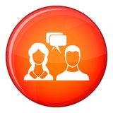 Speech bubbles with two faces icon, flat style Stock Images