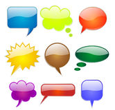 Speech bubbles in various shapes and colors Royalty Free Stock Photos