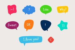 Speech Bubbles. Vector set of various bubbles Royalty Free Stock Images