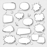 Speech bubbles. Vintage word bubbles, retro bubbly comic shapes. Thinking clouds with halftone vector set vector illustration