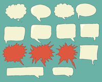 Speech bubbles voice bubble set hand drawing Stock Image