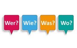 4 Speech Bubbles Wer Wie Was Wo Stock Image