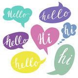 Speech Bubbles With Hello Word. Hand Drawn Vector Stock Photo