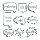 Speech bubbles with words and phrases, vector sketch illustration. Hand drawn comic text clouds with messages. vector illustration