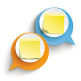 2 Speech Bubbles Yellow Sticks Orange Blue. Two speech bubbles with yellow sticks on the white background Royalty Free Illustration