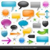 Speech cartoon bubble and internet button Stock Photos