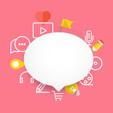 Speech cloud template with different icons Stock Photography