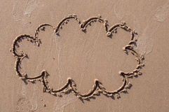 A speech cloud or think bubble drawn out on a sandy beach. Beach background. Top view Stock Photo