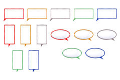 Speech colored bubbles shaped mark. Speech colored bubbles on white background Royalty Free Stock Photography