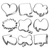 Speech and Conversation Bubbles Collection. Different kinds of speech and conversation bubbles in line art style. It contains hi-res JPG, PDF and Illustrator 9 Royalty Free Stock Images