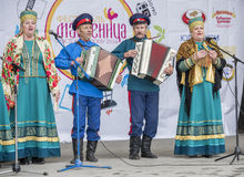 Speech Cossack ensemble of Maslenitsa in Gorky Park Stock Images