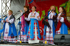 Speech of creative choral collective during Shrovetide festiviti Royalty Free Stock Photos