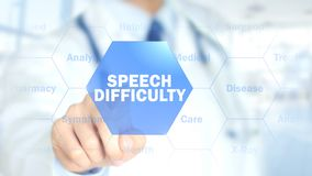 Speech Difficulty, Doctor working on holographic interface, Motion Graphics Royalty Free Stock Images
