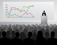 Speech of Director. Conference with presentation from a sales diagram Royalty Free Stock Photos