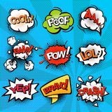 Speech and explosion bubbles on blue background with rays, comics background