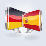 Speech in german and spanish Stock Images