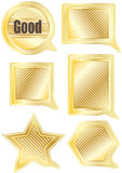 Speech Gold Shape Set_eps. Illustration of golden speech different shapes on white background Royalty Free Stock Photography