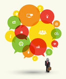 Speech group with icons stock illustration