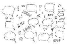 Speech hand drawn bubbles set Stock Photos