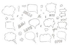 Speech hand drawn bubbles set Stock Images