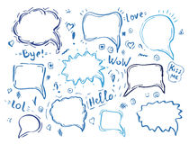 Speech hand drawn bubbles set Royalty Free Stock Photography