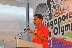 Speech by Minister. Singapore's Minister for Community Development, Youth and Sports Dr Vivian Balakrishnan, giving his speech at the official inaugural logo Royalty Free Stock Photo