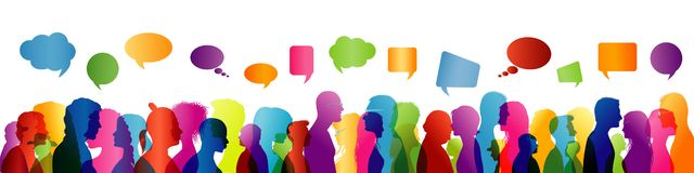 Speech between people. To communicate. Crowd talking. Group of people colored profile silhouette. Speech bubble. Speaking stock illustration