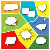 Speech popart elements. Comic cartoon shapes for dialogs thinking and talking on varicoloured backgrounds set. Speech popart elements. Comic cartoon shapes for royalty free illustration