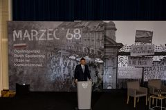 The speech of the President of the Council of Ministers of the Republic of Poland - Mateusz Morawiecki. The meeting was held as part of the celebrations of the Royalty Free Stock Photo