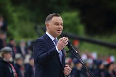 The speech of the President of the Republic of Poland Andrzej Duda in the Polish military cemetery. Cassino, Italy - May 18, 2019: The speech of the President of stock photos