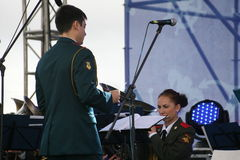 Speech by russian military brass band of the military academy of the general staff. Stock Photos