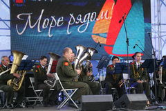 Speech by russian military brass band of the military academy of the general staff. Stock Image