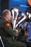 Speech by russian military brass band of the military academy of the general staff. At the gala concert dedicated to the opening of the fourth oranienbaum Royalty Free Stock Photo
