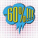 Speech sale bubble with text -60%. Vector illustration Stock Illustration