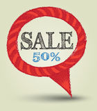 Speech sale drawing style Royalty Free Stock Photos