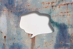 Speech sign with blank space on metal background Stock Photo