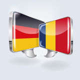 Speech and speech bubbles in German and Romanian Royalty Free Stock Photography