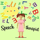 Speech therapist. Little girl Stock Photos