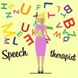 Speech therapist. Woman teacher Stock Images