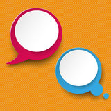 Speech and Thought Bubble Labels Orange Stripes Royalty Free Stock Photos